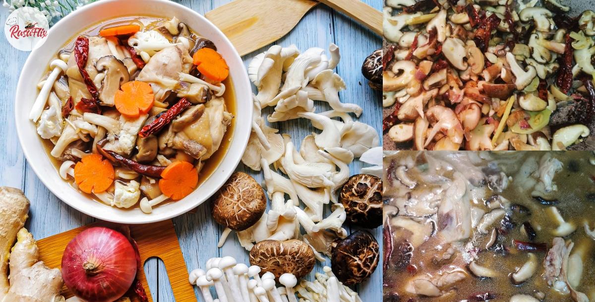 Ayam Mushroom Ala Chinese Style, Sedap Tanpa Gunakan Minyak Bijan
