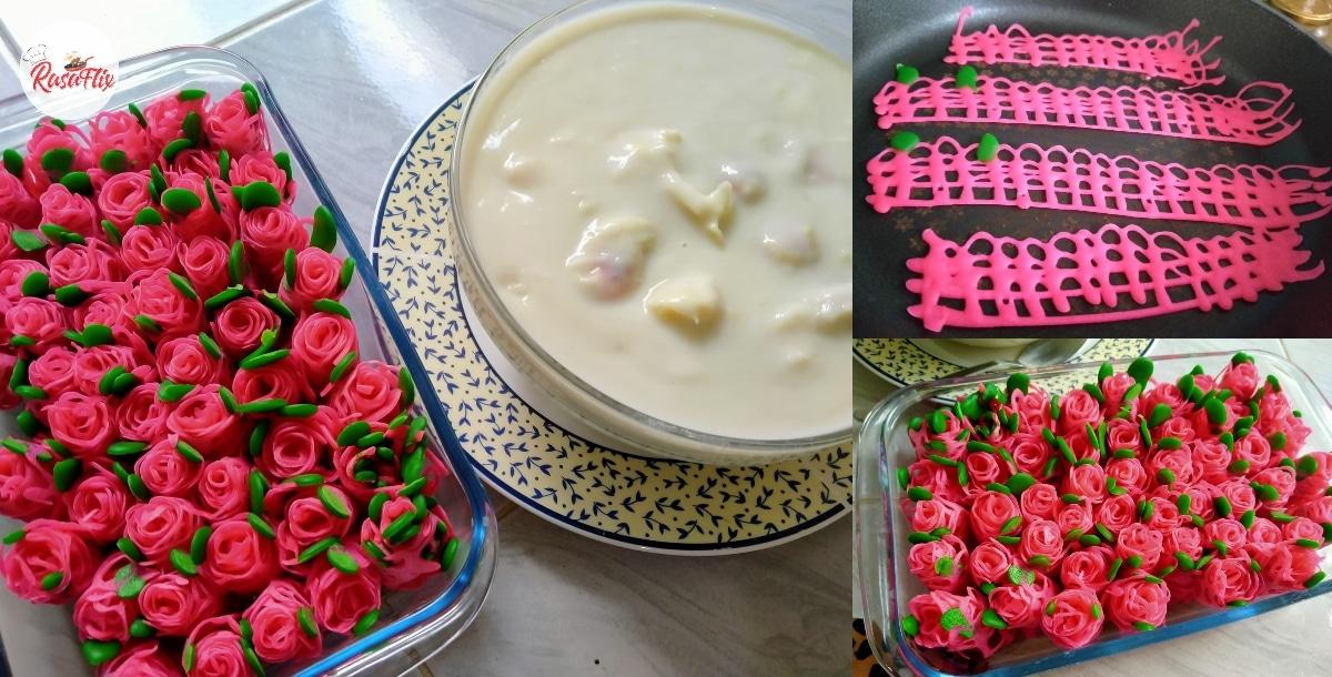Resepi Roti Jala Bunga Mawar, Lazatnya Dimakan Dengan Bubur Durian!