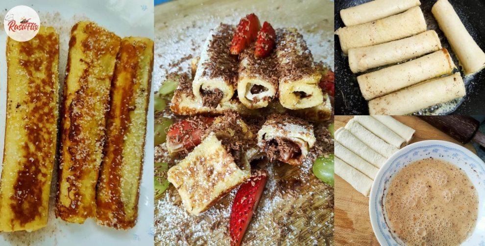 Resepi Mudah French Toast Roll Coklat Strawberi, Meleleh Air Liur Tengok!