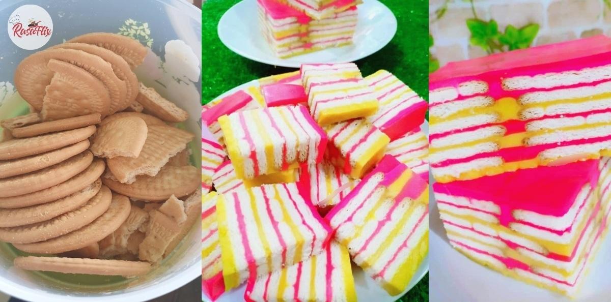 Kreatifnya! Serupa Kek Lapis, Jom Buat Puding Biskut Marie Di Rumah