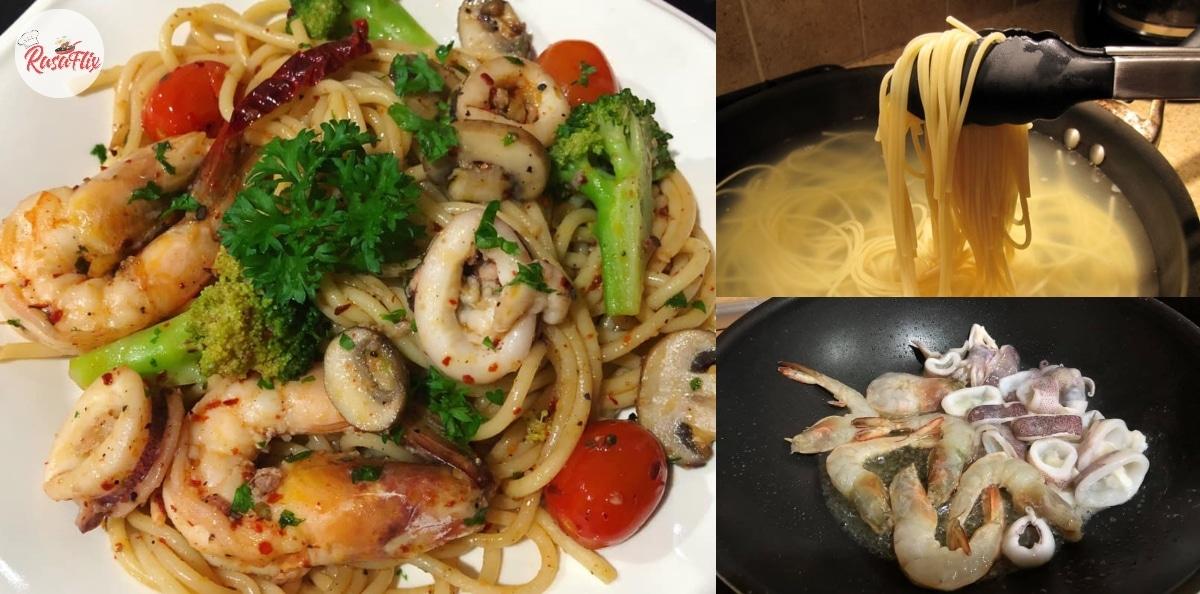 Resepi Spaghetti Aglio Olio Seafood, Masak Sendiri Dijamin Puas Hati!